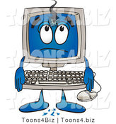 Vector Illustration of a Cartoon Computer Mascot with a Hole in His Screen by Toons4Biz