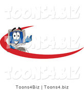 Vector Illustration of a Cartoon Computer Mascot with a Red Dash on an Employee Nametag or Business Logo by Toons4Biz