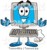 Vector Illustration of a Cartoon Computer Mascot with Welcoming Open Arms by Toons4Biz