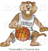 Vector Illustration of a Cartoon Cougar Mascot Character Dribbling a Basketball by Toons4Biz