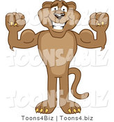 Vector Illustration of a Cartoon Cougar Mascot Character Flexing by Toons4Biz