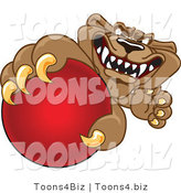 Vector Illustration of a Cartoon Cougar Mascot Character Grabbing a Ball by Toons4Biz