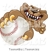 Vector Illustration of a Cartoon Cougar Mascot Character Grabbing a Baseball by Toons4Biz