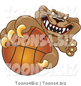Vector Illustration of a Cartoon Cougar Mascot Character Grabbing a Basketball by Toons4Biz