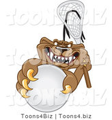 Vector Illustration of a Cartoon Cougar Mascot Character Grabbing a Lacrosse Ball by Toons4Biz