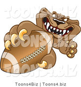 Vector Illustration of a Cartoon Cougar Mascot Character Grasping a Football by Toons4Biz
