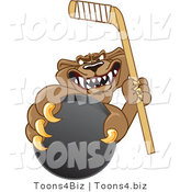 Vector Illustration of a Cartoon Cougar Mascot Character Grasping a Hockey Puck by Toons4Biz
