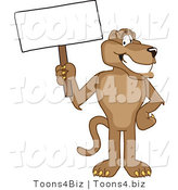 Vector Illustration of a Cartoon Cougar Mascot Character Holding a Blank Sign by Toons4Biz