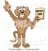 Vector Illustration of a Cartoon Cougar Mascot Character Holding a Report Card by Toons4Biz