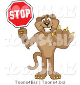 Vector Illustration of a Cartoon Cougar Mascot Character Holding a Stop Sign by Toons4Biz