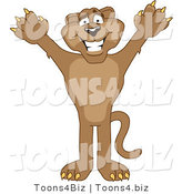 Vector Illustration of a Cartoon Cougar Mascot Character Holding His Arms up by Toons4Biz