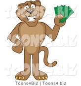 Vector Illustration of a Cartoon Cougar Mascot Character Holding Money by Toons4Biz