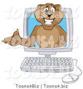 Vector Illustration of a Cartoon Cougar Mascot Character in a Computer by Toons4Biz