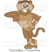 Vector Illustration of a Cartoon Cougar Mascot Character Leaning by Toons4Biz