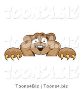 Vector Illustration of a Cartoon Cougar Mascot Character Peeking over a Surface by Toons4Biz