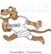 Vector Illustration of a Cartoon Cougar Mascot Character Playing Football by Toons4Biz