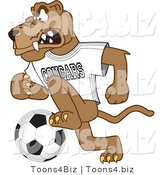 Vector Illustration of a Cartoon Cougar Mascot Character Playing Soccer by Toons4Biz