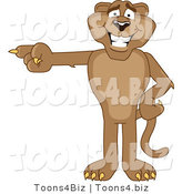 Vector Illustration of a Cartoon Cougar Mascot Character Pointing Left by Toons4Biz