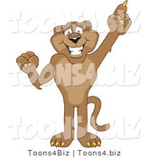 Vector Illustration of a Cartoon Cougar Mascot Character Pointing Upwards by Toons4Biz