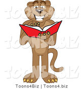 Vector Illustration of a Cartoon Cougar Mascot Character Reading by Toons4Biz