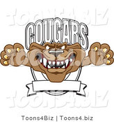 Vector Illustration of a Cartoon Cougar Mascot Character School Banner Logo by Toons4Biz