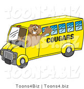 Vector Illustration of a Cartoon Cougar Mascot Character School Bus Driver by Toons4Biz