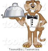 Vector Illustration of a Cartoon Cougar Mascot Character Serving a Platter by Toons4Biz