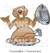 Vector Illustration of a Cartoon Cougar Mascot Character Serving a Thanksgiving Turkey by Toons4Biz
