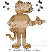 Vector Illustration of a Cartoon Cougar Mascot Character Singing by Toons4Biz