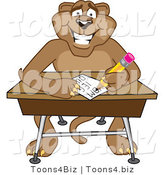 Vector Illustration of a Cartoon Cougar Mascot Character Taking a Quiz by Toons4Biz