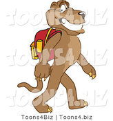 Vector Illustration of a Cartoon Cougar Mascot Character Walking to School by Toons4Biz