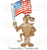 Vector Illustration of a Cartoon Cougar Mascot Character Waving an American Flag by Toons4Biz