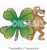 Vector Illustration of a Cartoon Cougar Mascot Character with a Clover by Toons4Biz