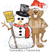 Vector Illustration of a Cartoon Cougar Mascot Character with a Snowman by Toons4Biz