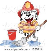 Vector Illustration of a Cartoon Dalmatian Firefighter Dog Mascot Mopping Dirty Floor with Clean Water by Toons4Biz