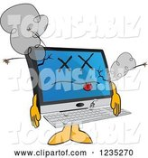 Vector Illustration of a Cartoon Dead PC Computer Mascot by Toons4Biz