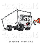 Vector Illustration of a Cartoon Delivery Truck Mascot Holding a Megaphone by Toons4Biz