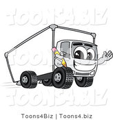 Vector Illustration of a Cartoon Delivery Truck Mascot Holding a Pencil by Toons4Biz