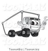 Vector Illustration of a Cartoon Delivery Truck Mascot Holding a Wrench by Toons4Biz