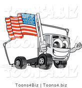 Vector Illustration of a Cartoon Delivery Truck Mascot Holding an American Flag by Toons4Biz