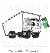 Vector Illustration of a Cartoon Delivery Truck Mascot Holding Cash by Toons4Biz