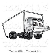 Vector Illustration of a Cartoon Delivery Truck Mascot Pointing Outwards by Toons4Biz