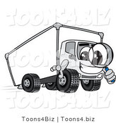 Vector Illustration of a Cartoon Delivery Truck Mascot Using a Magnifying Glass by Toons4Biz