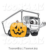 Vector Illustration of a Cartoon Delivery Truck Mascot with a Halloween Pumpkin by Toons4Biz