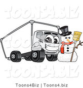 Vector Illustration of a Cartoon Delivery Truck Mascot with a Snowman by Toons4Biz