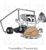 Vector Illustration of a Cartoon Delivery Truck Mascot with a Thanksgiving Turkey by Toons4Biz