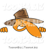 Vector Illustration of a Cartoon Detective Mascot Peeking over a Surface by Toons4Biz