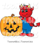 Vector Illustration of a Cartoon Devil Mascot and Halloween Pumpkin by Toons4Biz