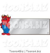 Vector Illustration of a Cartoon Devil Mascot by a Silver Plaque by Toons4Biz