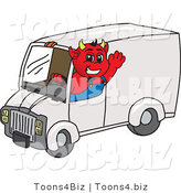 Vector Illustration of a Cartoon Devil Mascot Driving a Delivery Van by Toons4Biz